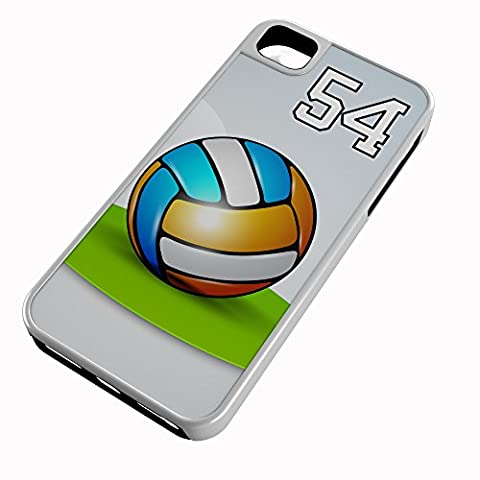 iPhone Case Fits iPhone 7 PLUS 7+ Hybrid Tough Case Volleyball Rainbow Jumbo Shrimp Any Custom Jersey Number 54 White Plastic Black (Rubber Spike Phone Case)