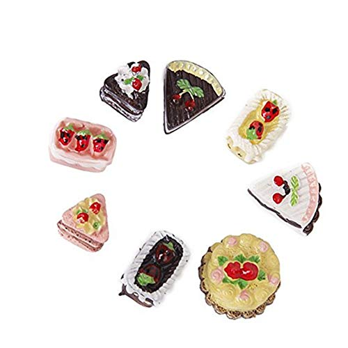 Domccy 8Pcs Dollhouse Cakes 1/12 or 1/6 Dollhouse Miniature Cakes Assorted Tastes of Chocolate Strawberry Cherry Cakes Toys & Games, Doll House, Children's Toys, Halloween Game -