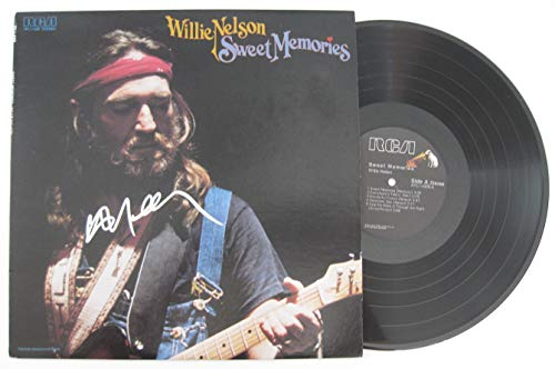 (Willie Nelson signed autographed Sweet Memories Vinyl Record, Album, COA with the Proof Photo will be included. STAR)