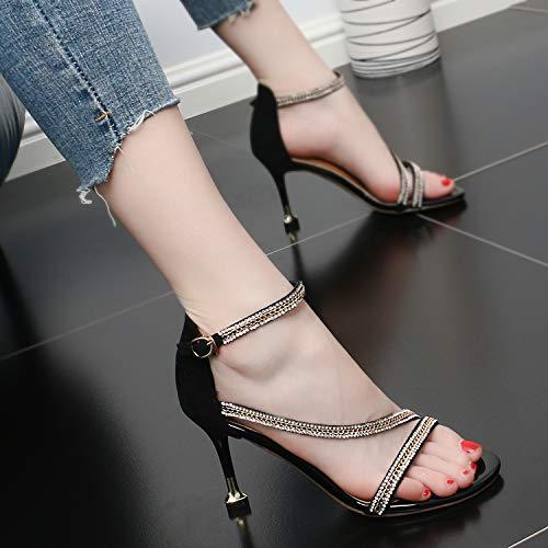 High Fine Toe Belt Diamond Drill Temperament One Word Fashion Summer Heel Heel Sandals Women'S SFSYDDY Dew 9Cm Buckle Joker gules Shoes 4wxpq