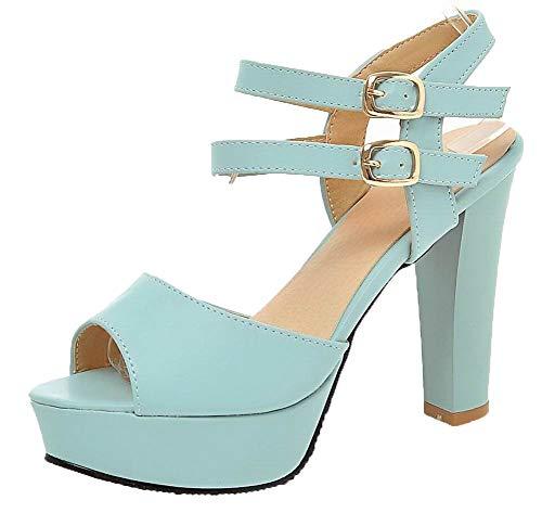 Luccichio Azzurro Fibbia Alto Puro Sandali Tacco Agoolar Donna Gmmlb010429 OwaBqEz