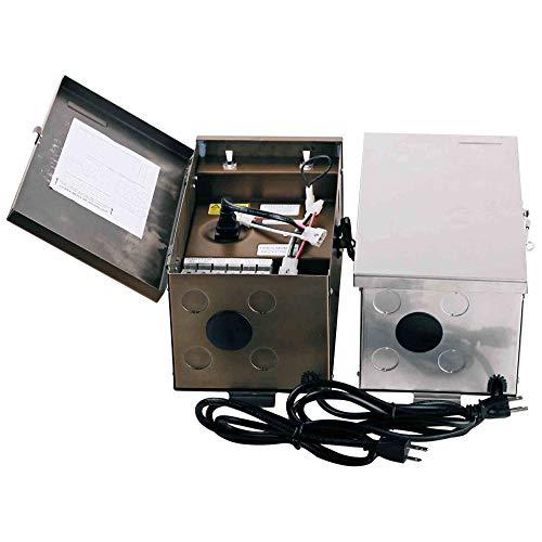 Low Voltage Landscape Transformer 600W, 120V, Stainless Steel,Input: 120VOUTPUT: 0V-12V-13V-14V-15V,ETL Listed, Timer/PHOTOCELL Adaptable,5 Years Warranty ()