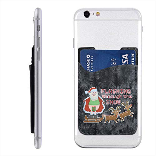 Funny Christmas Santa Claus Flashing Thru The Snow Trucker Phone Card Holder Lightweight 3M Adhesive Ultra Slim ID Credit Card Holder Phone Wallet Stick On Pocket for Back of Smartphones 2.43.5 in