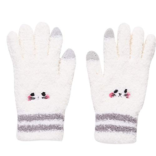 Ms. Student General Warmth Refers To The Touch Screen Gloves, Fur, Soft, Warm, No Ball, Modified Finger Gloves (Color : Beige, Size : One size)