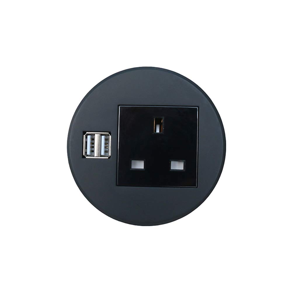 Black Power Data Hub Tap Grommet Durable Plastic Top Socket ZESHAN ZSO90P-3 with 1 UK Power Outlet 2 USB Chargers and RJ45 for Desktop