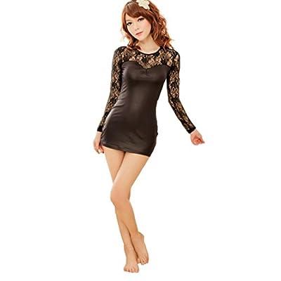 Sexy Lingerie;Start Women Black Transparent Crochet Lace Leather Lingerie