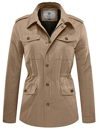 WenVen Women's Canvas Twill Military Anorak Jacket, Khaki, - Blazer Utility