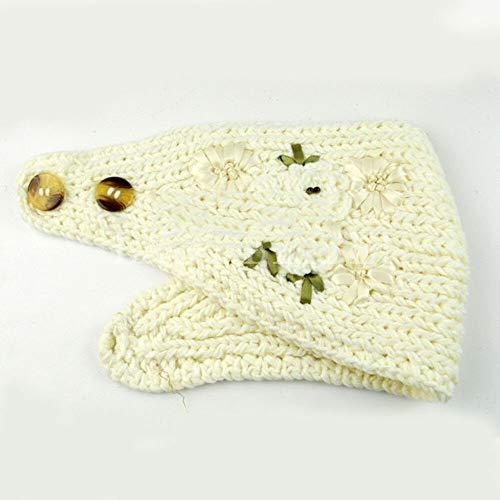 Womens Knitted Headband Winter Warm Hair Band Flower Headwrap Hat Earmuffs Hot (Color - White)
