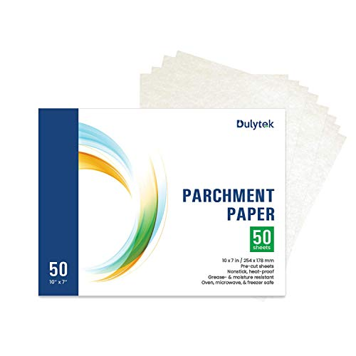 Dulytek 50-Sheet Pre-Cut Parchment Paper - 10 x 7 Inches - Slick Silicone Coating on Dual Sides