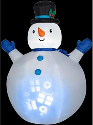 Gemmy Airblown Inflatable Panoramic Projection Snowman Wearing Top Hat - Indoor Outdoor Decorations, 7-foot Tall x 5-foot Wide x 4-foot (Tall Hat Snowman)