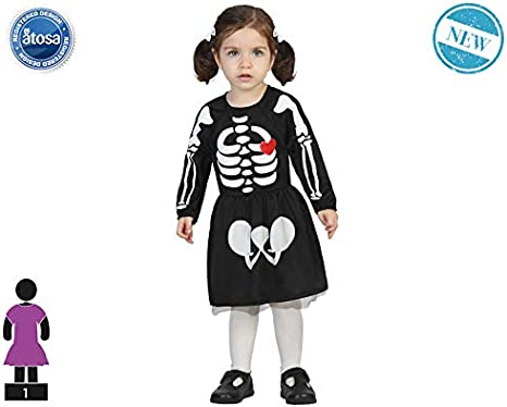 Atosa-61204 Atosa-61204-Disfraz Esqueleto-Bebé + 24 Meses-Niña ...