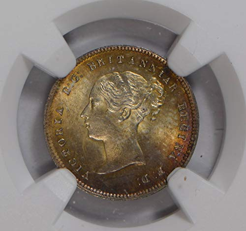 1863 IE NG0785 Great Britain 4 Pence Maundy NGC MS64 stunning purple golden toning silver DE PO-01 NGC