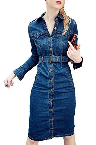 Mini algodón noche del delgado vestido rodilla manguito mezclilla Azul cortas la bordado ocasionales elegante dril Mit vestido de Mujeres patinador floral blusa mangas Gürtel Scothen vestido de de w6RIIq