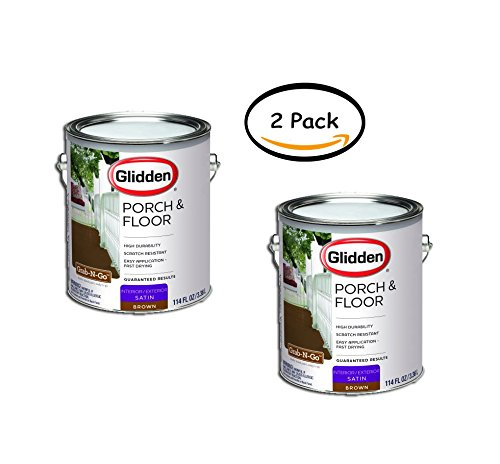 PACK OF 2 - Glidden Porch & Floor Paint and Primer, Grab-N-Go, Satin Finish, Brown, 1 Gallon