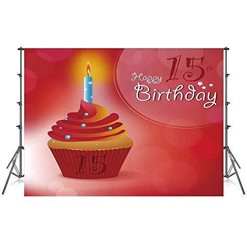15th Birthday Decorations Stylish Backdrop,Yummy Graphic Cupcake with Candlestick Stars Warm Ceremony for Photography Festival Decoration,86''W x 59''H