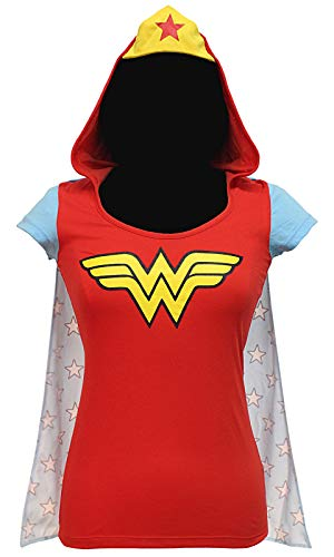 (DC Comics Wonder Woman Shirt Juniors Hooded Caped Costume T-Shirt)