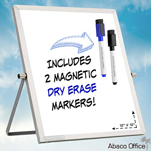 Small Dry Erase White Board by Abaco Office | Includes 2 Free Markers with Magnetic Eraser Cap | Mini WhiteBoard Easel, Dual Sided | Office, Home, School, Small Business (12x12 Inch)