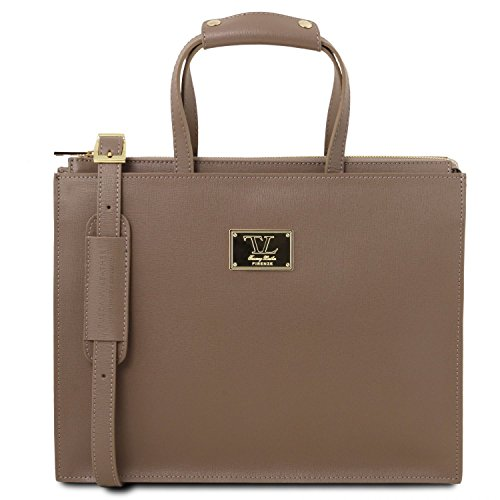 3 Dark Leather Leather Taupe Dark Taupe Saffiano woman Palermo Tuscany briefcase for compartments zXxB4n