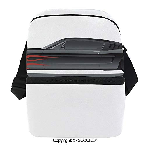 SCOCICI Cooler Bag Custom Design Muscle Car with Supercharger and Flames Roadster Retro Styled Decorative Insulated Lunch Bag for Men Women for Kayak,Beach,Travel,Work,Picnic,Grocery