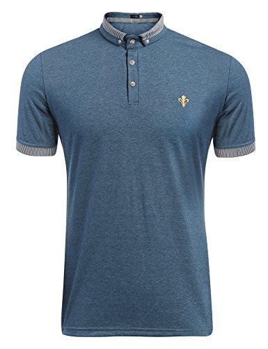(クーファンディ) Coofandy メンズ ポロシャツ ゴルフ オリジナル ポロシャツ 長袖 半袖 ビジネス おしゃれ 仕事 通勤 無地 薄手 普段着 重ね着 カジュアル ボタンダウン ストライプ襟