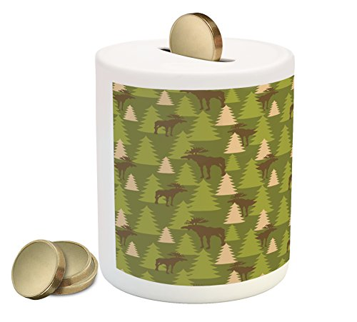 Deer Piggy Bank by Ambesonne, Animals in the Forrest Mooses and Pine Trees Pattern Canada Foliage Mammal Design, Printed Ceramic Coin Bank Money Box for Cash Saving, Green Tan Brown