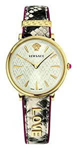 Versace Women's 'MANIFESTO EDITION' Swiss Quartz Gold-Tone and Leather Casual Watch, Color Beige (Model: VBP080017)