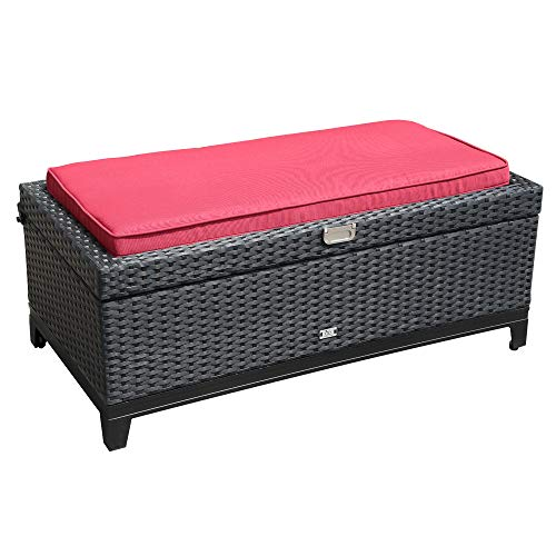 Orange Casual Rattan Wicker Deck Storage Box | Small Outdoor Storage Bench with Seat Cushion, Aluminum Frame, Black Rattan and Red Cushion