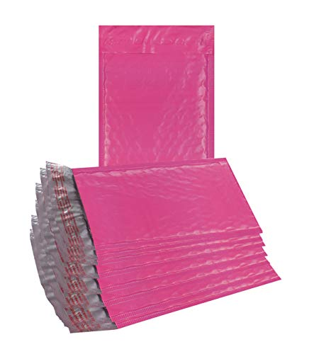 25 Pack Poly Bubble mailers 6x9. Padded envelopes 6 x 9 Hot Pink Cushion envelopes Peel and Seal. Top Quality Laminated Shipping Bags for mailing, Packing. Packaging in Bulk, Wholesale Price.