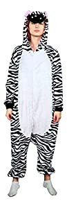 Emolly Adult Animal Zebra Onesie Pajamas Costume