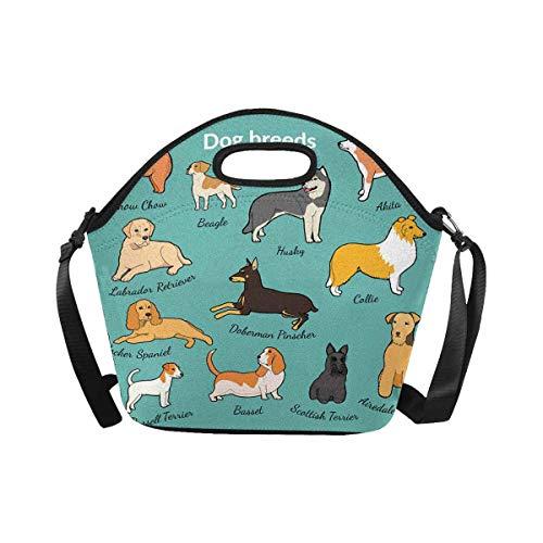 InterestPrint Insulated Neoprene Lunch Bag Set of Dog Breeds Lunchbox Tote Bag with Shoulder Strap