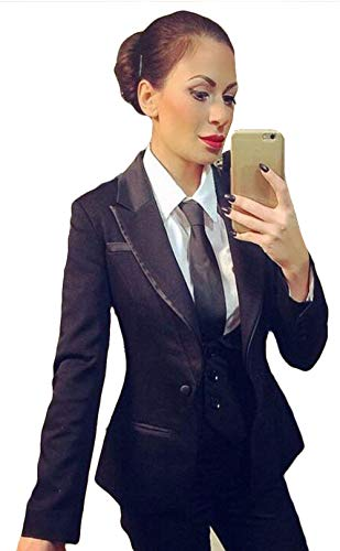 (WZW Women Pant Suits Ladies Office Business Suits Jacket+Pants+Vest New Hot Tuxedos Navy)