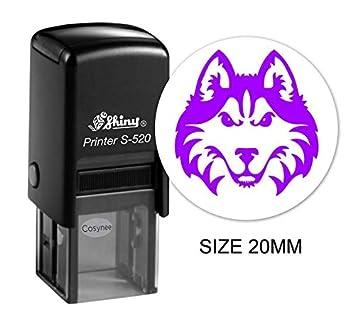 Mini timbro rotondo autoinchiostrante con logo del lupo in gomma 20 mm Nero Cosynee Shiny S-520