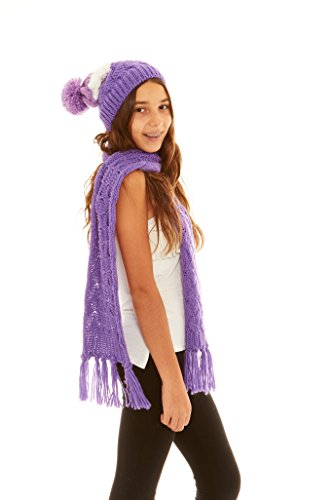 Crush Girls Winter Basket Weave Knit Tassel Scarf & Pom Beanie Set Purple