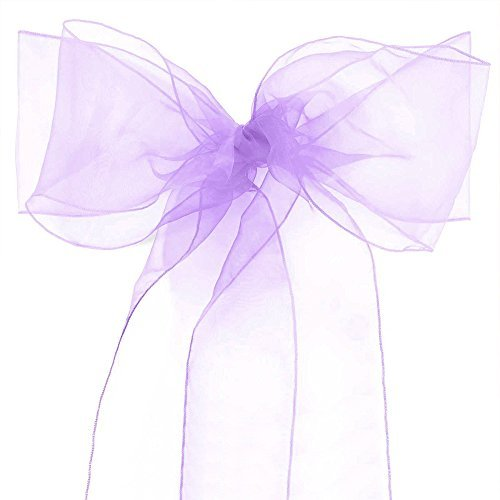 - Lucky 10/20/50/100 Pack Organza Banquet Chair Sash Sashes Bows Ties for Weddings Party Decoration White Pink Purple Gold Red(100 Pack, Lavender)