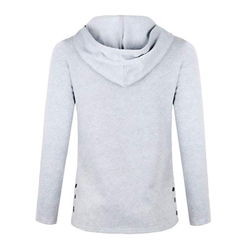Luckycat Blusa Soporte Mujeres De Collar Sudadera Completa Botón Cálido Gris Manga Outwears Sólido FFPHqr