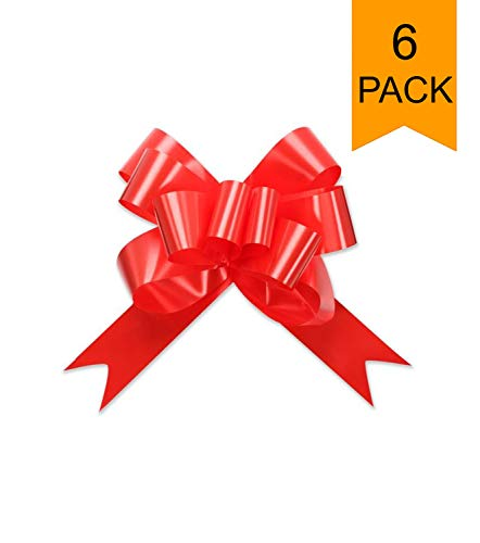 Large Red Shiny Christmas Valentines Gift Wrap Pull Butterfly Bows – 5″ Wide, Red Ribbon Big Pull Butterfly Bows for X-mas Gifts and Presents, Set of 6