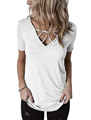 V-neck Short Top Sleeve Solid - GOCHIC Womens Summer Short Sleeve T Shirts V Neck Tunic Criss Cross Tops Henley Workout Shirts White L