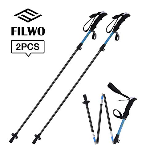 FILWO Trekking Poles, Hiking Sticks Collapsible Hiking Poles Lightweight Folding Mountain Walking Sticks Collapsible Carbon Trekking Poles Hiking Straight Handle Aluminum Alloy Non Slip 36cm