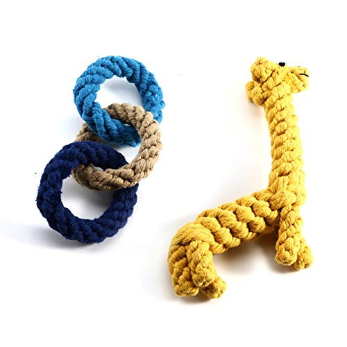 Popeye Dog Rope Toys for Aggressive Chewers -Set of 2 Nearly Indestructible Dog Toys - Benefits NONPROFIT Dog Rescue-5 (Giraffe & - Giraffe Rope