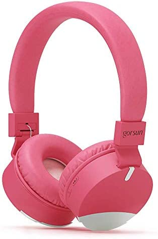 gorsun Wireless Kids Headphones with Microphone, Children s Wireless Bluetooth Headphones, Foldable Bluetooth Stereo Over-Ear Kids headsets-Pink