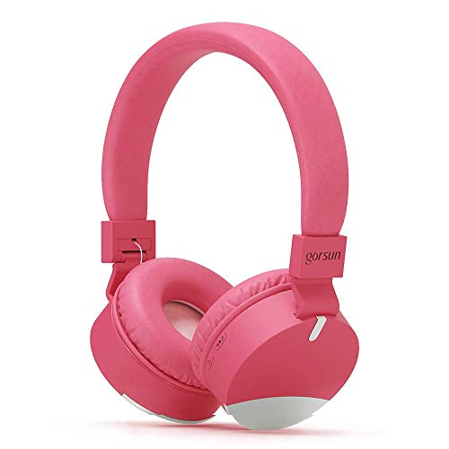 gorsun Wireless Kids Headphones with Microphone, Children's Wireless Bluetooth Headphones, Foldable Bluetooth Stereo Over-Ear Kids headsets-Pink