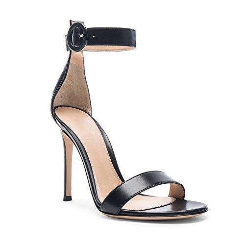 Bout Sandales Chaussures Aiguille Bride à Femme EDEFS Talon 10CM Cheville Noir Ouvert de wRB6EIqnqd