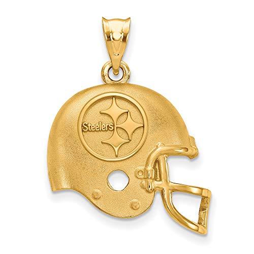 (NFL Sterling Silver Gold-plated LogoArt Pittsburgh Steelers Helmet Pendant)