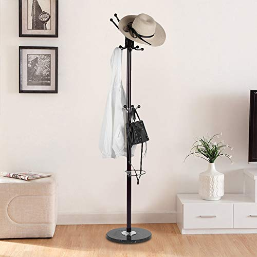 70 Inch Aluminum Alloy Clothes Floor Stand Holder Hanger Rack Round Base