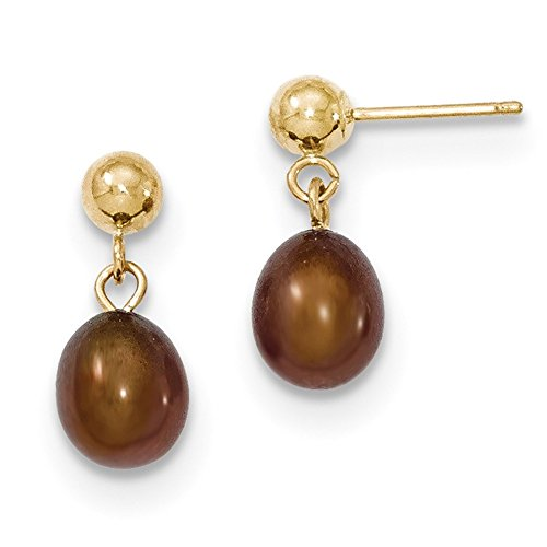 Gold Brown Fw Pearl (Lex & Lu 14k Yellow Gold 6-7mm Brown FW Cultured Pearl Dangle Earrings-Prime)