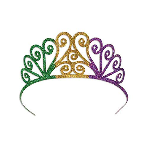 Bargain World Glittered Metal Mardi Gras Tiara (with Sticky -