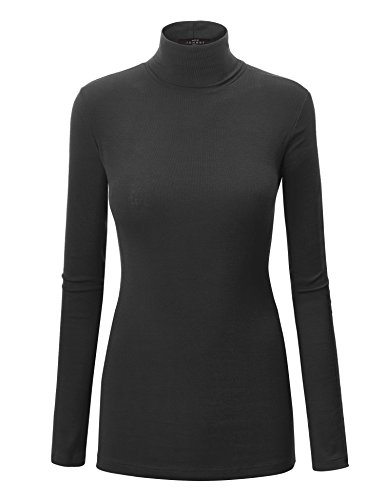 WT950 Womens Long Sleeve Turtleneck Top Pullover Sweater L Black
