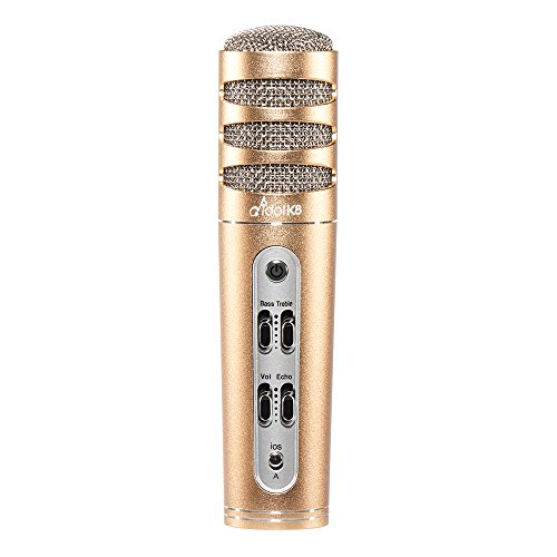Idol K8 Plus Karaoke Singing Practice Kit | Wired | Condenser Microphone with Noise Reduction On-Ear Headphone | Carrying Case Included (Champagne Gold + HiFi Headphone) by Full Power (Image #2)