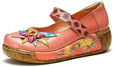 gracosy damplattform sandaler skor för vår sommar läder slip on mule träskor avslappnad komfort kilade tofflor sandaler vintage handgjord blomma loafer platt promenad halkskydd damklänning skor 4-8 Storbritannien