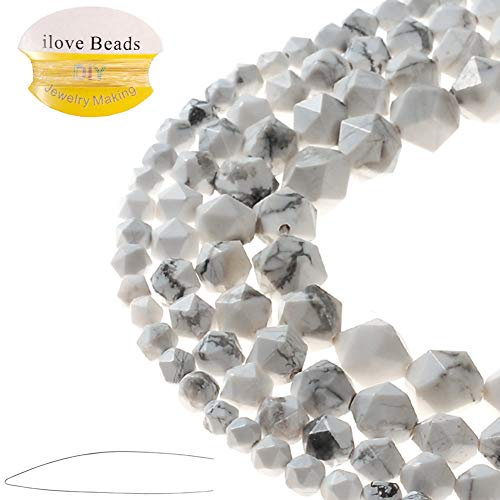 (ILVBD Natural White Howlite Gemstone Faceted Loose Beads 6/8/10/12MM for DIY Necklace Bracelet Jewelry Making (White Howlite, 6MM))